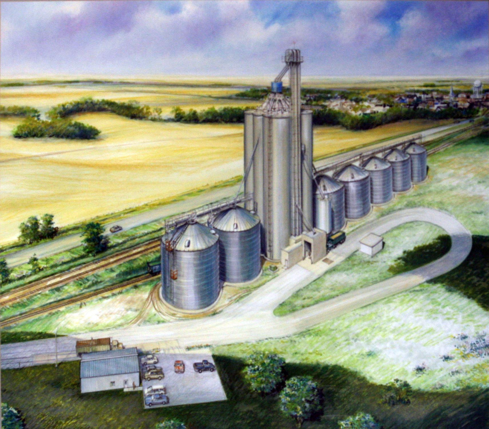 .Illustration of barley storage faciilty in Conrad, Montana